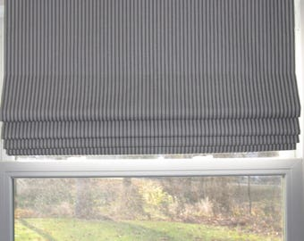 Custom Roman Shade Window Treatment Made Just for You - Classic Ticking