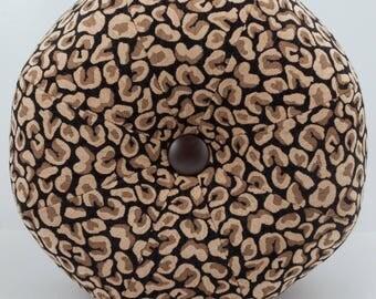 Dorm Room Decor- Leopard Pouf Ottoman- Pouf- Footstool- Round Ottoman- Black and Brown Leopard Chenille- by beckyzimmdesign