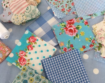 """40 x 4"""" blue  cotton fabric patchwork squares ,sewing,patchwork,quilt,quilt making,crafts,childrens crafts"""