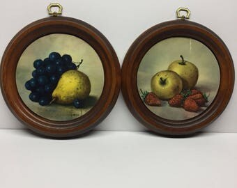 Wooden Round Framed fruit wall art vintage