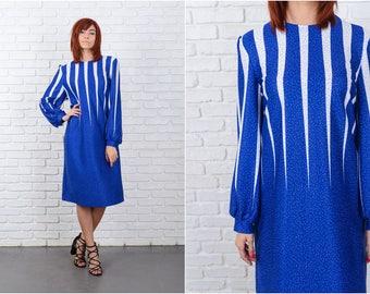 Vintage 80s Blue + White Retro Dress Polka Dot shift Large 9665