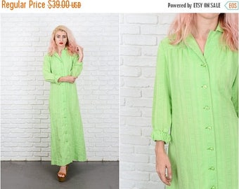 ON SALE Vintage 70s Green Mod Dress Maxi Shirtdress Shirt Dress Medium M 9685 vintage dress 70s dress green dress medium dress