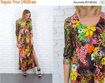 Sale Vintage 70s Vivid Floral Print Dress Psychedelic Long Sleeve Maxi mod Small S 5622