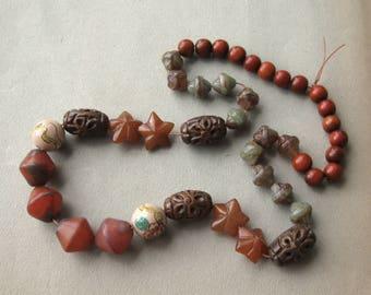 Destash Mostly Vintage Beads Burnt Orange Color Glass Wood Porcelain Carnelian Strand of 42 Beads