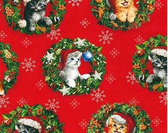 Santa Cats in Wreaths on Red from Robert Kaufman's Christmas Pets Collection