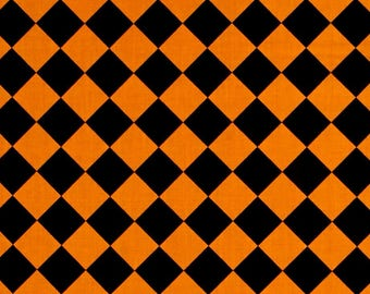 Black and Orange Harlequin Diamonds from Andover Fabric's Fright Night Collection - Halloween