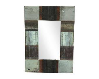 22 in. x 22 in. Patchwork Reclaimed Copper Framed 4.5 in. Mirror