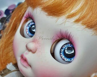 Big eyes 14mm Light Black Mix Eyechipsr handpainted for Neo blythe
