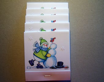 Set of 5 Snowman Building a Snowman Matchbook Post Its
