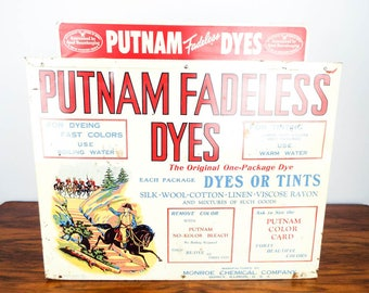Vintage Advertising Putnam Dyes General Store Countertop Display Tin Cabinet 40s