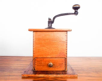 Antique Primitive Wooden Coffee Grinder Finger Joint Hand Crank Herb Mill 1900s