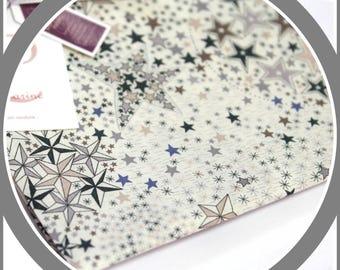 Coupon Liberty Adelajda étoiles sable, marron glacé, bleu 46 cm x 25 cm