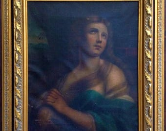 Sale Antique Oil Painting ca. 17th C. Flemish Italian Old Master Portrait of a Woman Mary O/C European Art Framed