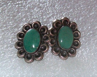 Vintage Sterling Silver and Natural Green Stone? Southwestern Screw Back Earrings