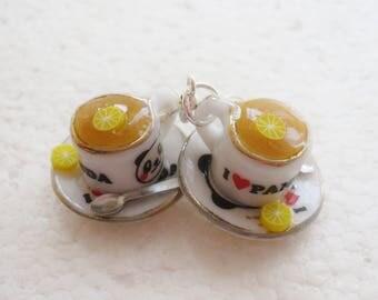 Honey Tea Earrings. Polymer clay.