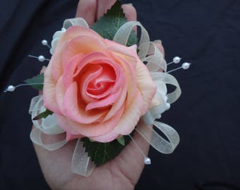 Real touch rose, orchid wrsit corsage, wristlet, for prom, bridesmaids, pink rose, white, champagne, orange, coral rose