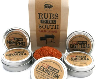 Gusto's RUBS of the SOUTH - Excellent Barbecue Gift Set - bbq Spices / Rubs