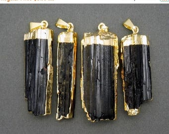 10% off Independence Day Raw Tourmaline Charm Pendant - Raw Black Tourmaline 24k Gold Electroplated Cap and Edges -- (S23B14-07)