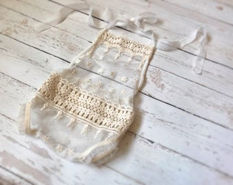 Mesh Lace Romper, Lace Outfit, Newborn Romper, Newborn Props, Baby Romper, Vintage Newborn Romper, Chiffon Outfit