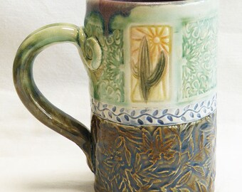 ceramic cactus coffee mug 16oz  stoneware 16D064