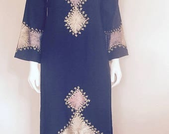 Caftan / 70s / Boho Hippie / Moroccan Caftan / Embroidered Dress / Bohemian
