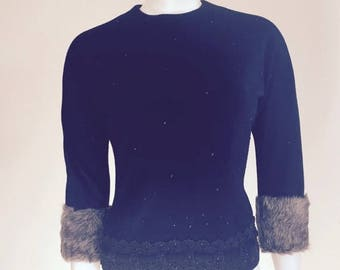 50s Top / Sweater Girl / Fur Cuffs / Sexy Sweater / Black / Mad Men / Beaded Sweater / Cocktail Party / Pin Up Clothing
