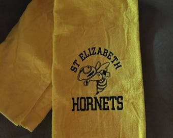 Hornets towel, Personalized Mascot towel, team towels, cat paw, falcons, and more