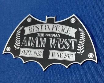 Custom ADAM WEST Tribute Display Name Plate 1966 BATMAN Television Series *Silver*