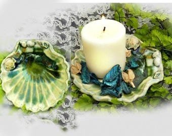 beach decor dish - Clam Shell Dish - Shell shaped dish -   nautical decor dish - shell dish - # 178
