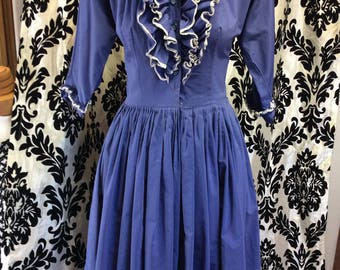 Sensational 50's CornBlue Jabot Collared Dress