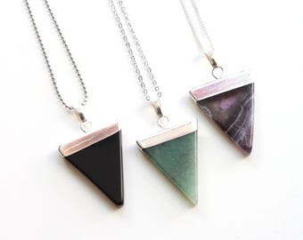 Silver Dipped Triangle Pendant Necklace. Black Onyx, Aventurine, nethryte Necklace. Natural Stone Necklace. Gift For Her.