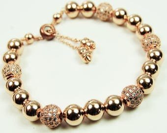 14kt Rose Gold Filled Bracelet Beaded Rhinestone Bolo Clasp