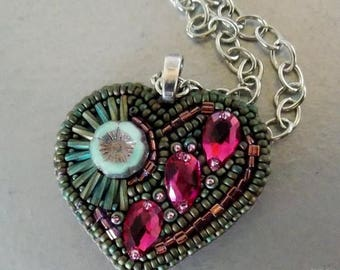 Summer sale -15% Bead embroidery, Pendant, Brooch , Seed bead  necklace, Trending style, patina, fuchsia , Valentine's Day