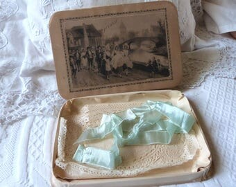 Antique baptism keepsake box signed French bapteme box w paper, ribbon bow Victorian baptism box for guests dragee gifts, shop from Toulouse