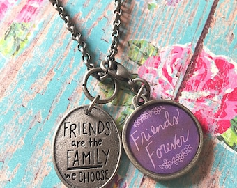 Rustic Friends Are Family Necklace