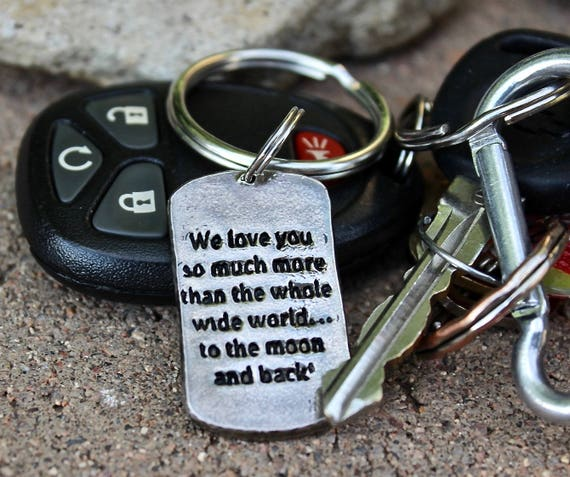 Customize Keychain with quote, bible verse, or special meaningful message, Silver Keychain with stamped phrase or personal message keychain