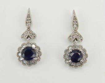 14K White Gold Sapphire and Diamond Flower Drop Earrings September Wedding Gem
