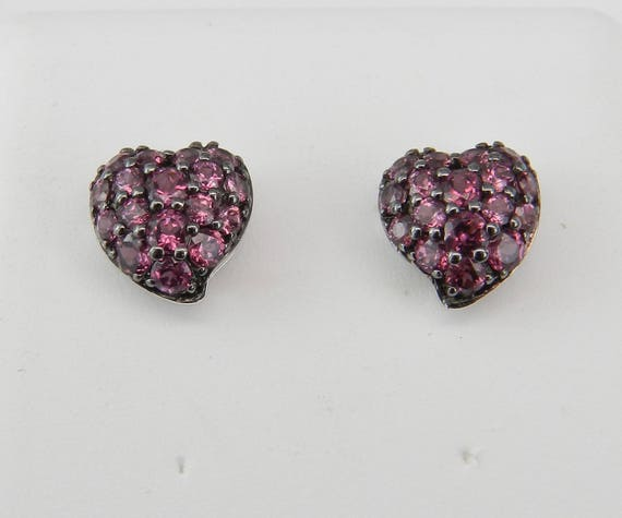 Pink Tourmaline Heart Stud Earrings Cluster Studs Earring 14K White Gold October Birthstone