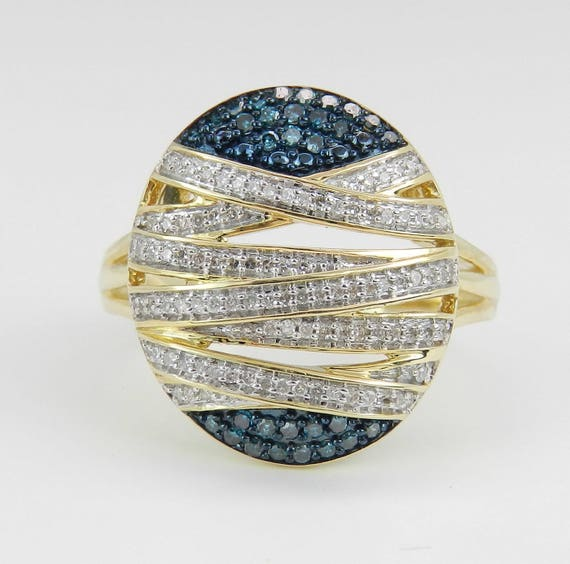Fancy Blue and White Diamond Cluster Cocktail Ring Band Yellow Gold Size 7