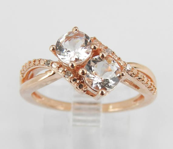 Two Stone Morganite and Diamond Engagement Ring Rose Gold Size 6