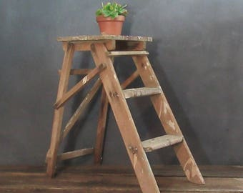 Vintage Folding Step Ladder, Wood Ladder, Wood Step Stool, Farmhouse Decor, Vintage Two Step Ladder, Rustic Decor, Plant Stand