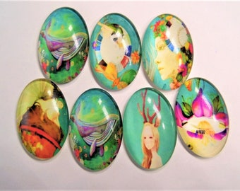 Whimsical cabochons, 30mm*20mm*6mm, 5 Count package, Random Selection, S27