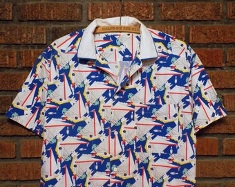 Vintage Esprit Pop Art Windsurfer Print Button Down Shirt Men's XL