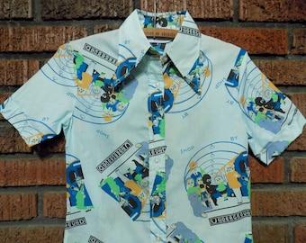 Vintage 70s Underground Novelty Print Butterfly Collar Shirt Women's S