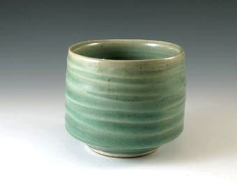 Tea Cup, Handmade Pottery, Yunomi, Matcha Cup, Celedon Green, Green Tea Cup, Teacup, Whiskey Cup, Ceramics and Pottery M113