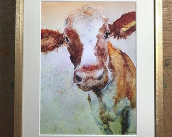 Cow Print of cow watercolor painting brown cows  framed art with mat 11 x 14