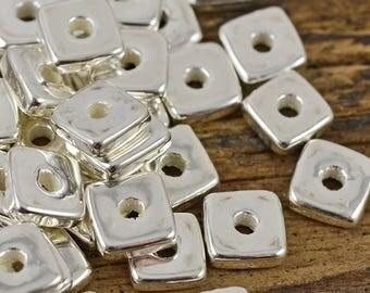 Mykonos 8MM Square Washer - Fine Silver - Greek Ceramic Beads - QTY: 25 or 50