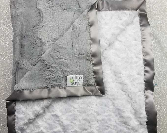 Minky Blanket, baby girl, blanket for girl, baby boy, grey and white, warm blanket, soft blanket, rose minky, hide minky, silver Lovie, Silk