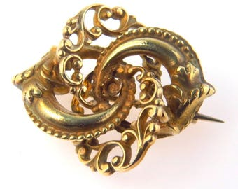 """Aesthetic Movement Victorian Love Knot Pin 1 1/4"""" by 15/16"""" Gold Filled"""