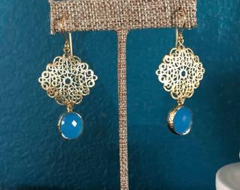 Gold Filigree & Ocean Blue Earrings